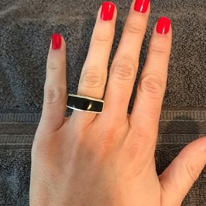 Jewelry - 925 Sterling and Black onyx like size 6 ring